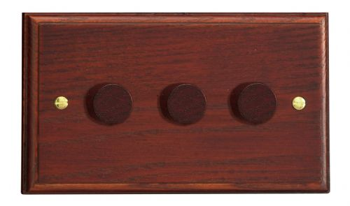 Varilight HK43M Kilnwood Mahogany 3 Gang 2-Way Push On/Off Dimmer 40-250W V-Dim